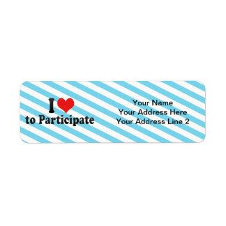I Love to Participate Return Address Label
