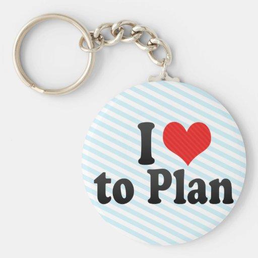 I Love to Plan Basic Round Button Keychain