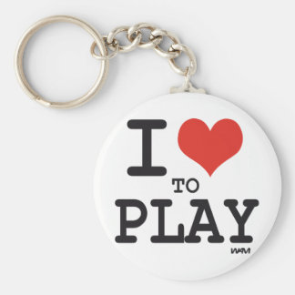 I love to play basic round button keychain