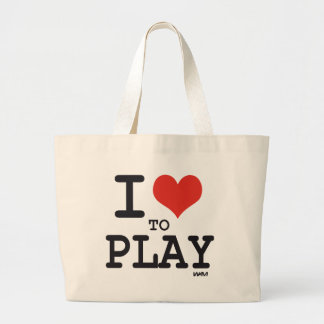 I love to play large tote bag