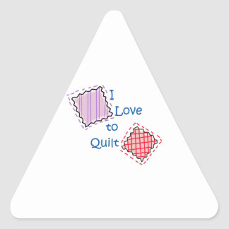 I Love To Quilt Triangle Sticker