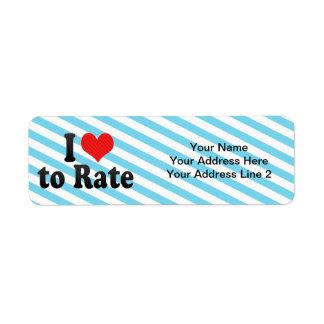 I Love to Rate Custom Return Address Labels