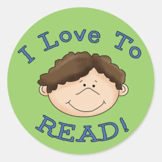 I Love to Read Boy Classic Round Sticker