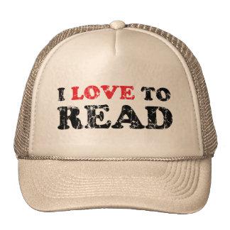 I Love To Read Distressed Trucker Hat