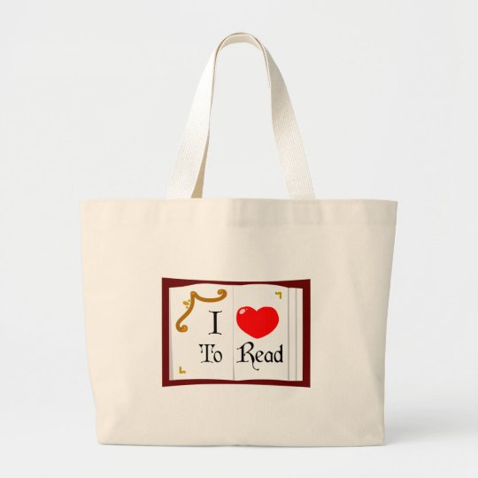 I Love To Read Large Tote Bag