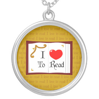 I Love To Read Round Pendant Necklace
