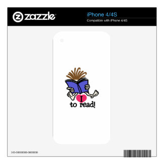 I Love to Read Skin For iPhone 4