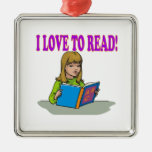 I Love To Read Square Metal Christmas Ornament