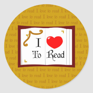 I Love To Read Round Stickers