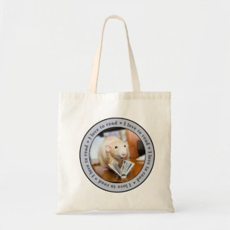 I LOVE TO READ Tote Bag featuring Marty Mouse