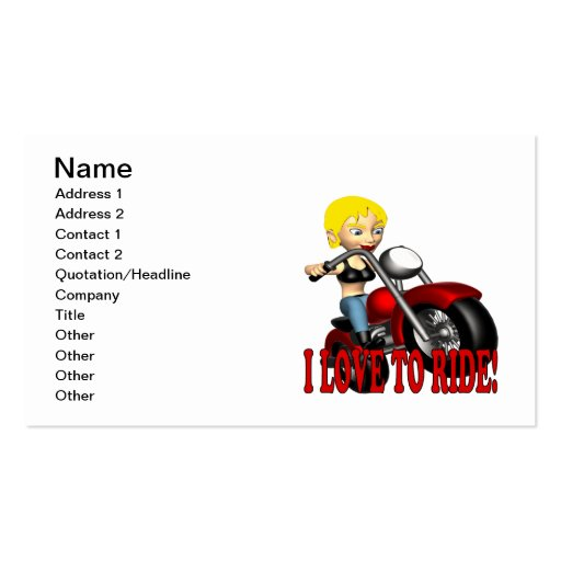 I Love To Ride 3 Business Card Template