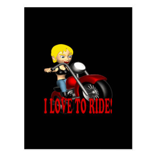 I Love To Ride 3 Postcard