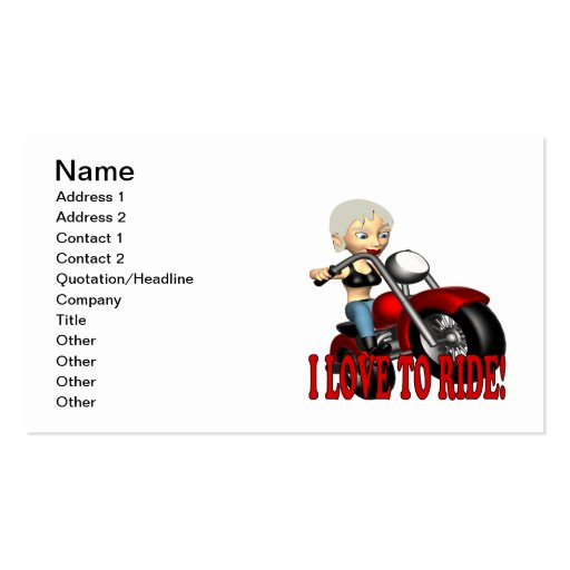 I Love To Ride 4 Business Cards