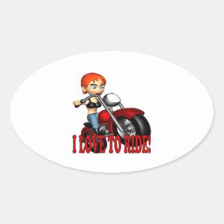 I Love To Ride Oval Sticker
