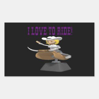 I Love To Ride Rectangular Sticker