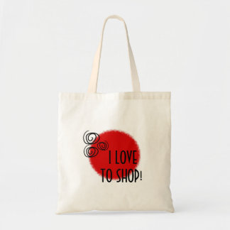 I LOVE TO SHOP SWIRLS AND RED BACKGROUND TOTE BAG