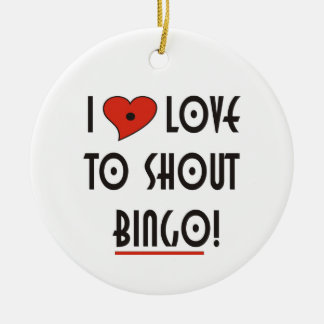 I Love to Shout Bingo Double-Sided Ceramic Round Christmas Ornament