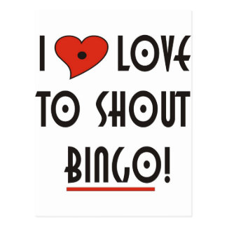 I Love to Shout  BINGO Postcards