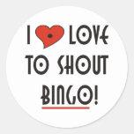 I Love to Shout  BINGO Round Stickers