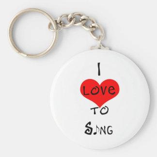 I Love To Sing Basic Round Button Keychain