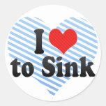 I Love to Sink Round Sticker