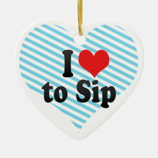 I Love to Sip Double-Sided Heart Ceramic Christmas Ornament