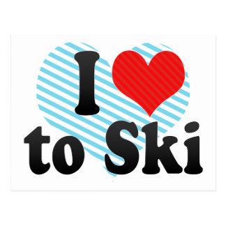 I Love to Ski Postcard