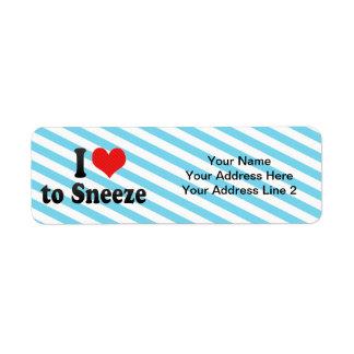 I Love to Sneeze Custom Return Address Label