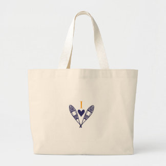 I Love to Snowshoe Large Tote Bag