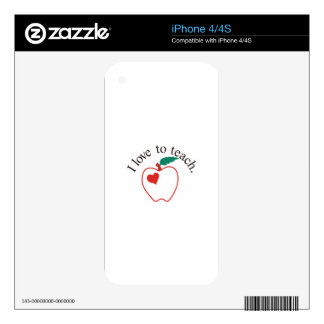 I Love to Teach Decals For iPhone 4