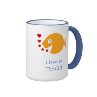 I Love to Teach Happy Goldfish with Little Hearts Ringer Mug