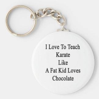 I Love To Teach Karate Like A Fat Kid Loves Chocol Basic Round Button Keychain