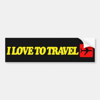 I love to travel bumper sticker
