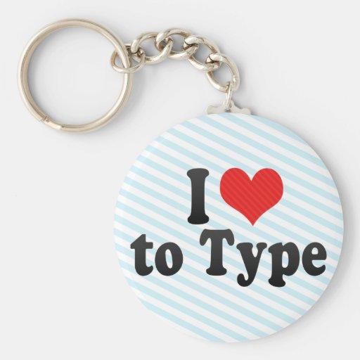 I Love to Type Keychain