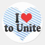 I Love to Unite Stickers