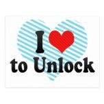 I Love to Unlock Postcard