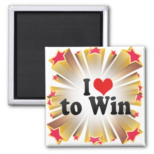 I Love to Win 2 Inch Square Magnet
