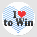 I Love to Win Classic Round Sticker