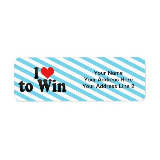 I Love to Win Return Address Label