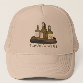 I love to wine T-shirts and Gifts. Trucker Hat