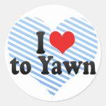 I Love to Yawn Stickers