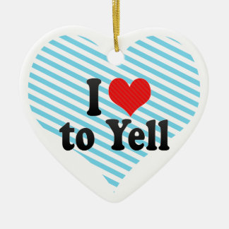 I Love to Yell Double-Sided Heart Ceramic Christmas Ornament