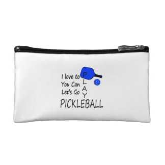 i love to you can lets go play pickleball blue makeup bag