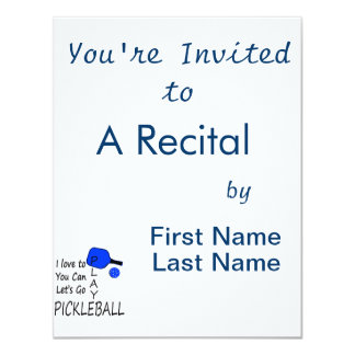 i love to you can lets go play pickleball blue 4.25x5.5 paper invitation card