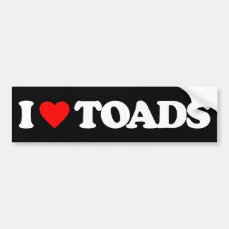 I LOVE TOADS CAR BUMPER STICKER