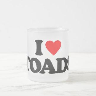 I LOVE TOADS 10 OZ FROSTED GLASS COFFEE MUG