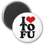 I Love Tofu Funny Vegan humor 2 Inch Round Magnet