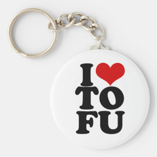 I Love Tofu Funny Vegan humor Basic Round Button Keychain