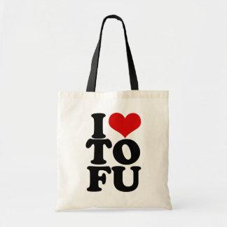 I Love Tofu Funny Vegan humor Budget Tote Bag