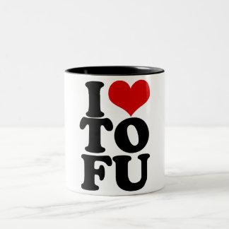 I Love Tofu Funny Vegan humor Two-Tone Coffee Mug